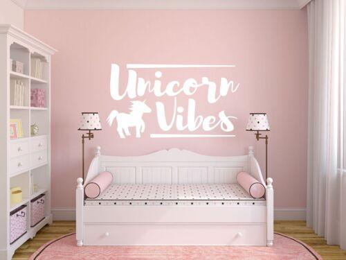 Kids Fantasy /'Unicorn Vibes/' Wall Art Sticker Quote Vinyl Decal