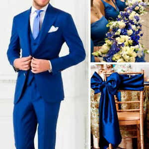 Royal-Blue-3-Pieces-Men-039-s-Groom-Wedding-Tuxedos-Groomsmen-Best-Man-Party-Suits