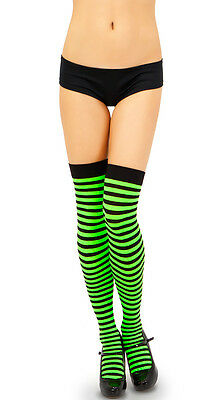 Sexy Opaque Striped Thigh Hi Nylon Stockings High Trouser Sock Halloween Costume