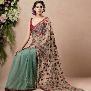 Bridal-Indian-Saree-Sari-Designer-Bollywood-Net-Embroider-Work-Ethnic-Party-Wear