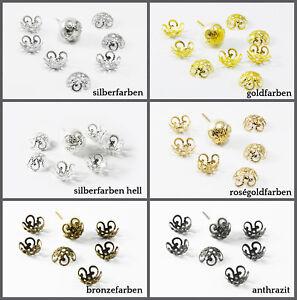 10 mm 100 St/ück INWARIA Perlenkappen /Ø 10 mm Kappen Perlenkappe Perlkappen Endkappen Silberfarben S98