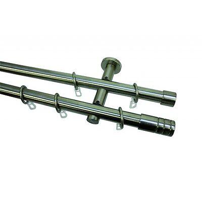 Gardinia 2-Lauf  Komplettstilgarnitur Zylinder Metall Ø 20 mm edelstahl-optik