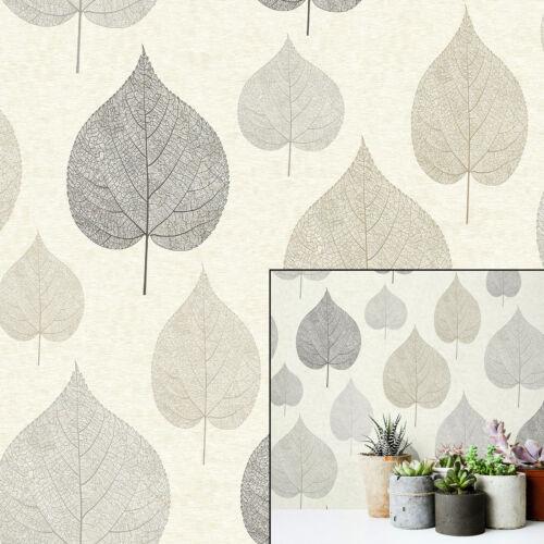 Crown Signature One Leaf Cream Brown Silver Grey Metallic Luxury Wallpaper