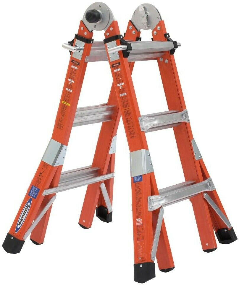 14 ft. Multi-Purpose Fiberglass PRO Ladder with 300 lbs. Load Capacity Type IA