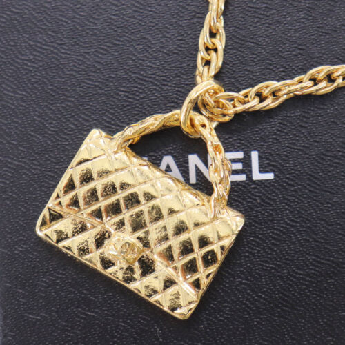 CHANEL Logos Quilted Bag Necklace Gold-Tone 95 P F