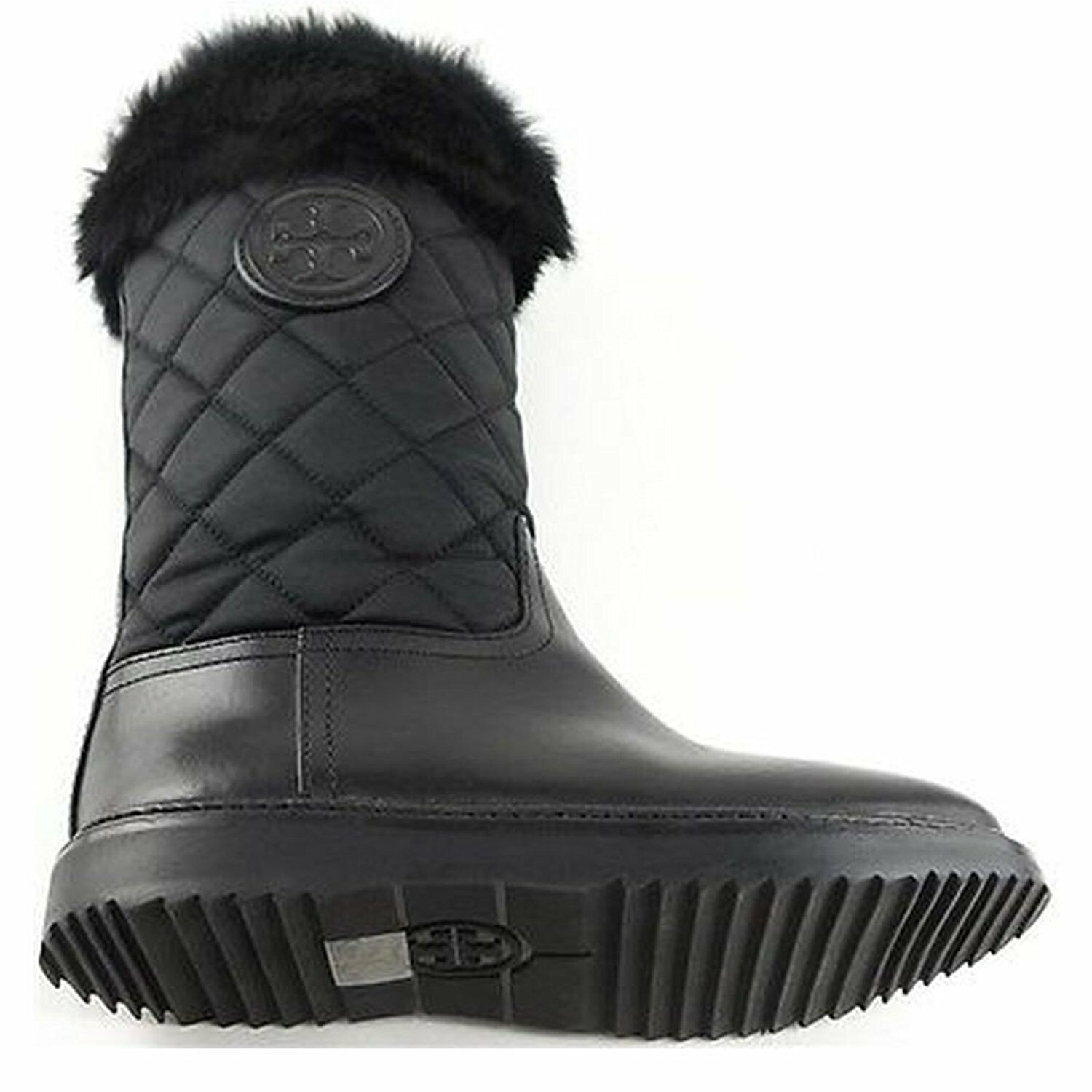 Tory Burch Joey Fur Trim Quilted Winter Boots Women's Size 5