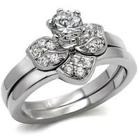 Women's Round Cz Stainless Steel Rose Flower Wedding Promise 2 Ring Guard Set