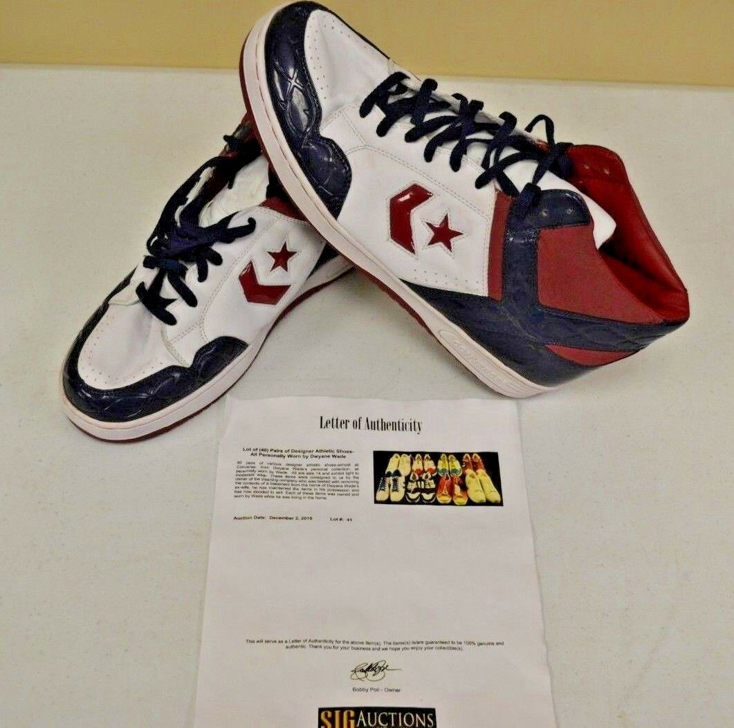 Converse High Top USED Basketball shoes sz 14 DWAYNE WADE Personal Owned w COA