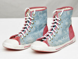 dd979d09d5d UGG~GIRLS BLUE PINK CANVAS SUEDE JOHNEY HIGH TOP SNEAKERS #1000794 ...