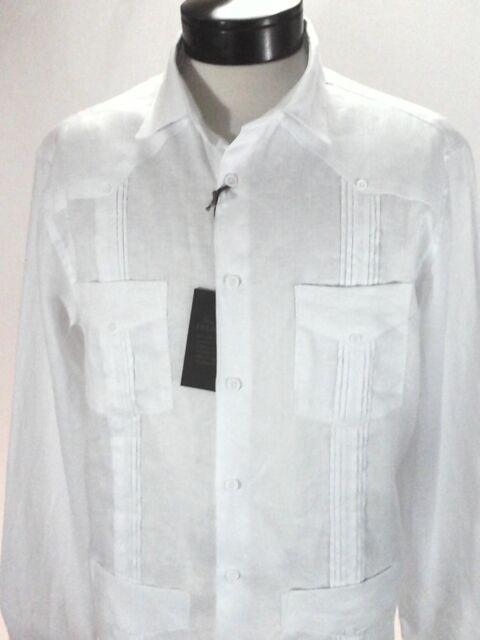 ef53468fa35 Guayabera TASSO ELBA White Cuban Shirt 4 Pockets 100% Linen Mens L  79.50