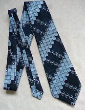 Tootal Rejilla plazas Vintage Azul Marino Geométrico Ancho Tie Retro década de 1960 década de 1970 Mod