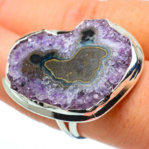 Huge-Amethyst-Stalactite-925-Sterling-Silver-Ring-Size-8-Jewelry-R33378F