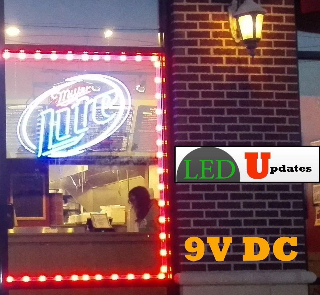 50ft Storefront LED Window Light rot 9V with UL power Supply LEDupdates