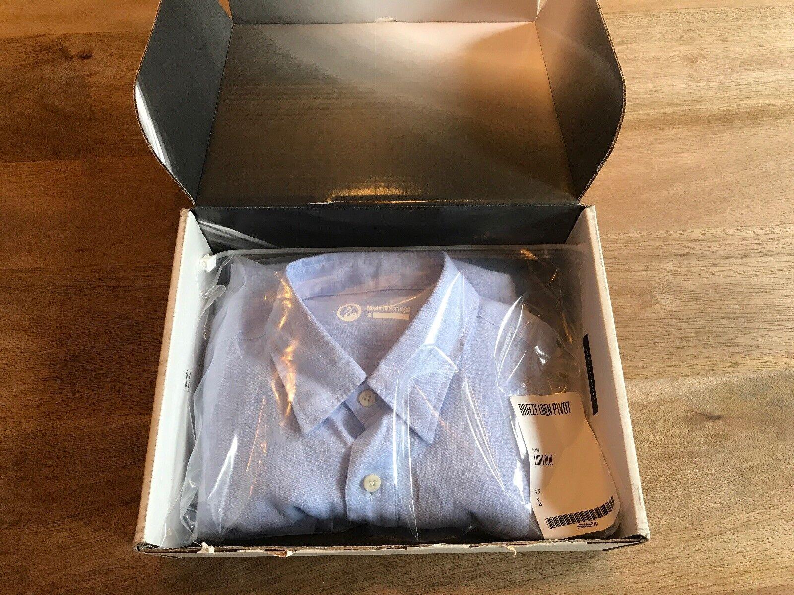 NEW Outlier Breezy Linen Pivot Button Down Shirt, Small, Light bluee
