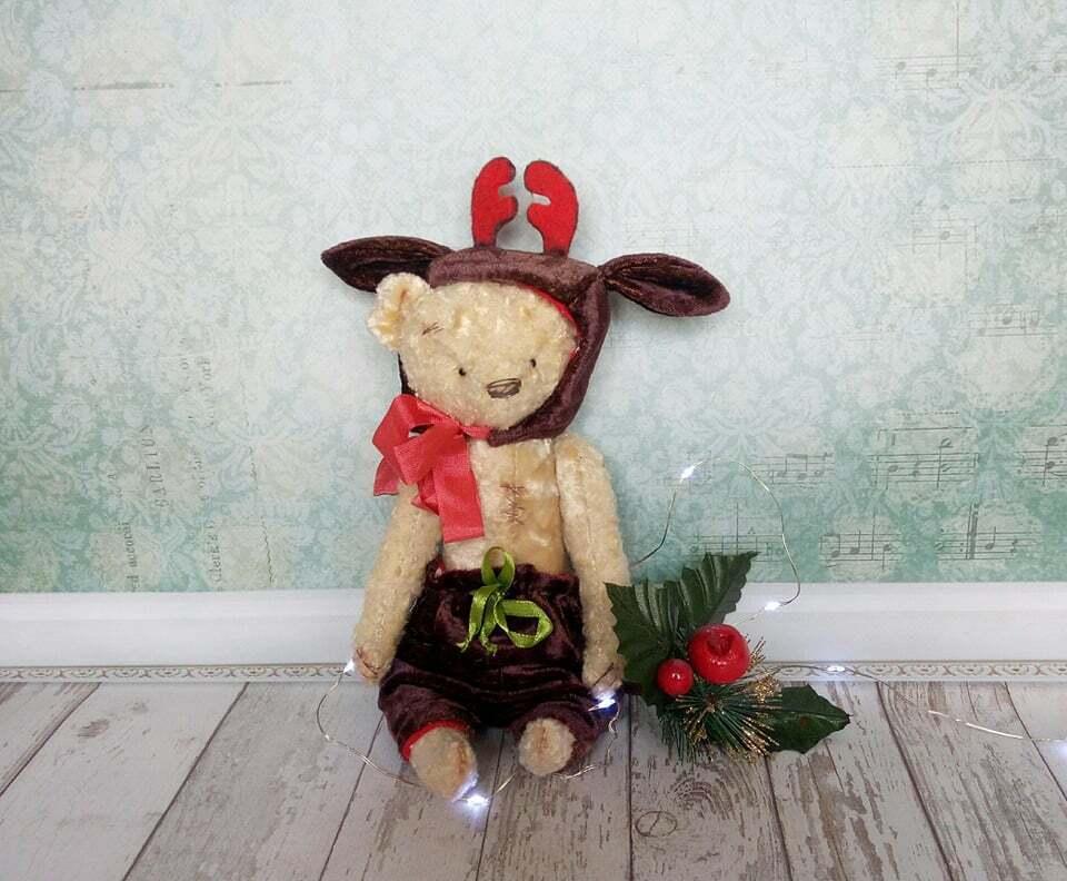 Christmas teddy bear Toy bear Plush bear Teddy toy Gift Bear plush in Kleid