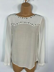 WOMENS-ZARA-WHITE-STUDDED-NECKLINE-LONG-SLEEVE-SMART-CASUAL-BLOUSE-TOP-SMALL-S