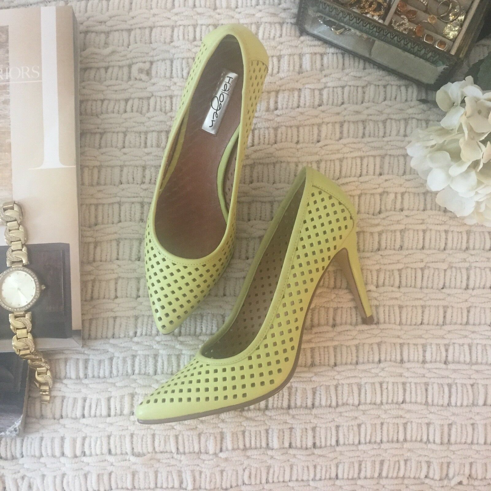 NEW Halogen Perforated Yellow Leather Pumps, Size 6