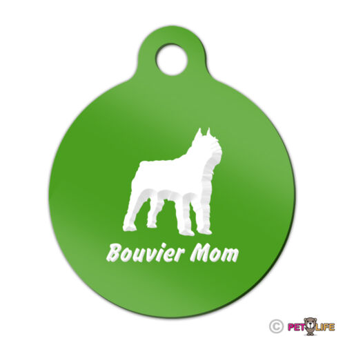 Bouvier Mom Engraved Keychain Round Tag w//tab des Flandres Many Colors