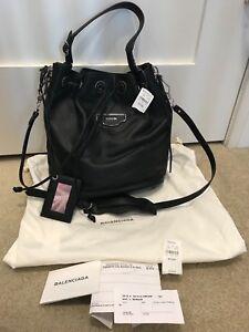 d515e0ea58 Balenciaga Papier Plate Side Zip Leather S AJ Black Bucket Bag NWT ...