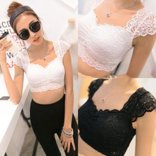 Damen Crochet Backless Behälter Lace Vest Bluse Shirt Bralette Bra Crop