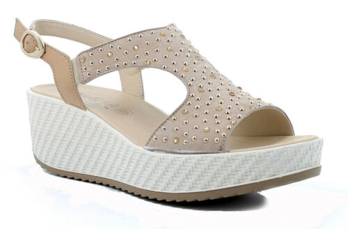 Enval Soft Sandals Women's Line Comfortable Suede Beaded Beige Wedge cm 6