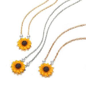 Perle-Sonnenblume-Halskette-Anhaenger-Weiblichen-Schmuck-Zubehoer-Sonnenblume-Z1U6
