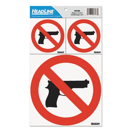 No Gun Sign Decal International Symbol Red Line Retail Restaurant Office Ebay