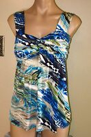 $125+ Casting France Blue Green Black Abstract Print Long Knit Stretch Top Xs T1 on sale