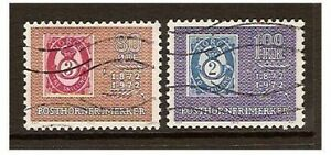 Norway-1972-Stamp-Centenary-set-Used-SG-677-8