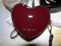 Michael Kors hearts Coin Purse Key Wristlet Mirror Leather Msrp 78.00 Plum