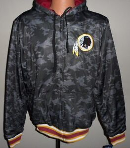 Washington-Redskins-Reversible-Black-Camo-Zip-Up-Hoodie-Adult-XL-Free-Ship