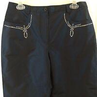 Luisa Spagnoli Pura Seta 42 Silk Pants 5 Pocket Embellished Studded Blue 2 4 Xs