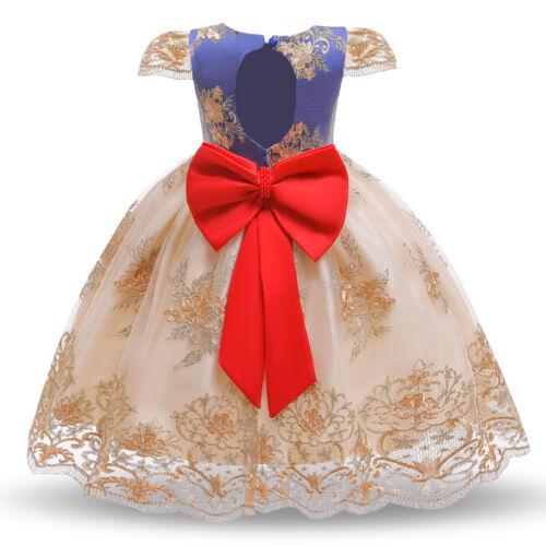 Mädchen Kind Stickerei Prinzessin Kleid Party Hochzeit Blume Spitze Schleife Neu