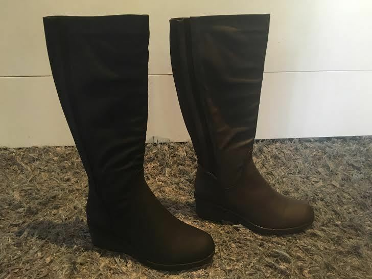 Ladies Boots No Shoes Freed Black or Brown Wedge Knee High Boot Size 6-11