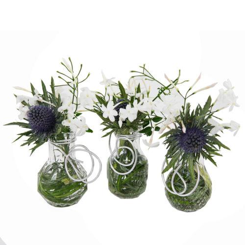12 x Mini-Vase 3-fach Glasflaschen Flaschen Glasfläschchen Glasvase