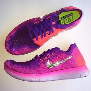 Bling Nike Free RN FlyKnit Running Shoes w  Swarovski Crystal ... 8cba1c9a0