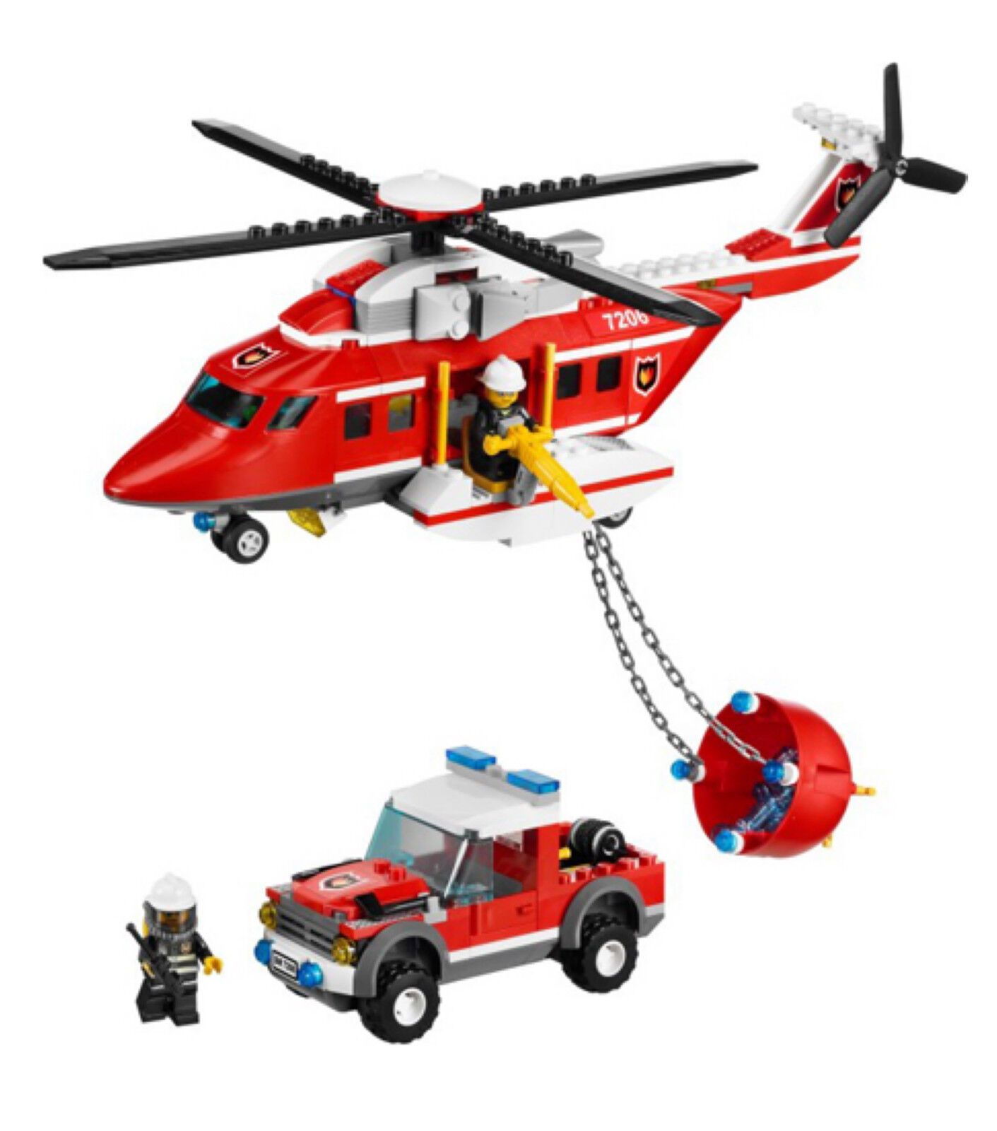 Brand New LEGO CITY 7206 Fire Helicopter 342 Part Part Part Pieces with 3 Mini Figures 3daa5a