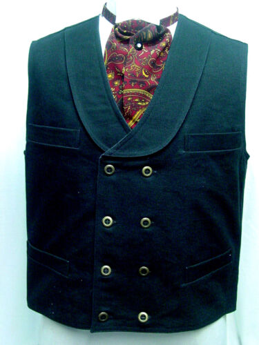 Men's Vintage Vests, Sweater Vests    Double Breasted Black Frontier Classics Old West Victorian Westworld style vest $48.84 AT vintagedancer.com