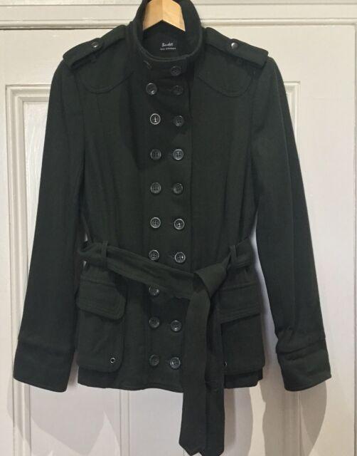 Bardot Jacket 10 Dark Green Double Breasted Wool Blend