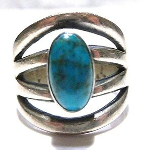 Native American Silver Ring With Turquoise Buffalo