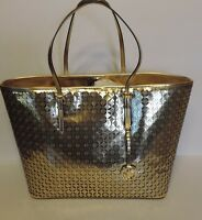 Michael Kors Mk Flower Perforated Md Travel Tote Metallic Faux Leather Bag