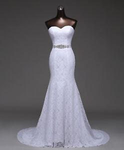echte Qualität professioneller Verkauf das beste Details zu NEU Brautkleid Spitze 34 36 38 Braut Kleid Hochzeit Schleppe  Strass Meerjungfrau