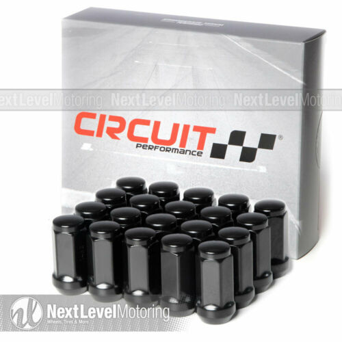 Circuit Performance Black Bulge Acorn Hex Long Lug Nut 14x2.0 20pc Fits Ford