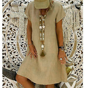 Women-Summer-Cotton-Linen-Casual-Dress-V-Neck-Short-Sleeve-Solid-Color-Dress