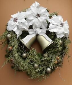 22-034-Christmas-Holiday-White-Poinsettia-Gray-Bell-Pine-Cone-Ornament-Pine-Wreath