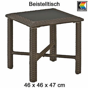 kettler beistelltisch 46 x 46 cm in mocca geflechttisch mit glasplatte tisch neu ebay. Black Bedroom Furniture Sets. Home Design Ideas