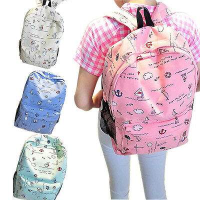 Back To School Students Bookbags Printed Canvas Shoulder Bag Travel Backpacks