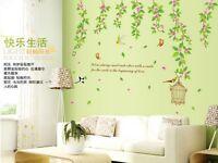Bird flower vine Home Decor Removable Wall Sticker/Decal/Decoration