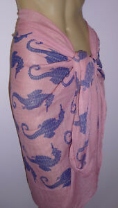 Dusky-Pink-Blue-Sarong-Seahorse-Wrap-Cover-Up-Lightweight-Beach-Skirt-Scarf