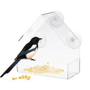 Acrylic-Transparent-Bird-Squirrel-Feeder-Tray-Birdhouse-Window-Suction-Cup-Mount